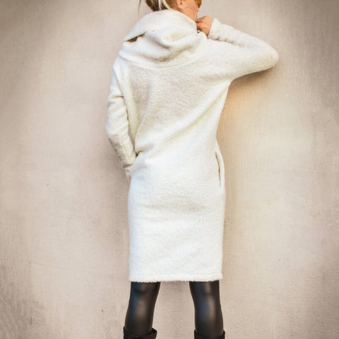 Turtleneck Long Fleece Pullover Sweater Dress