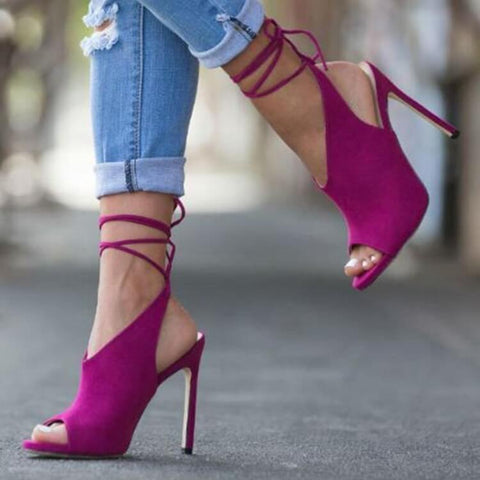 Suede Strappy Ankle Peep Toe Sandals