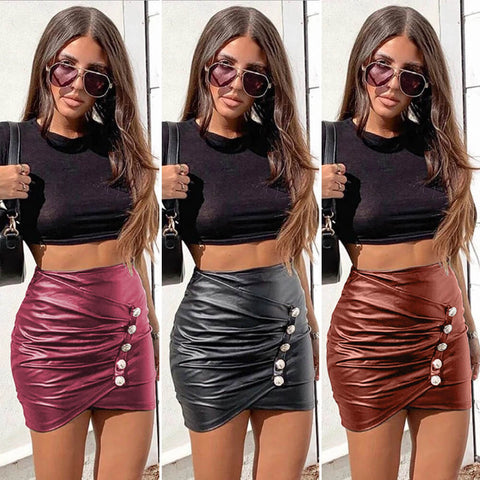 Party Leather Bodycon High Waist Leather Mini Skirts