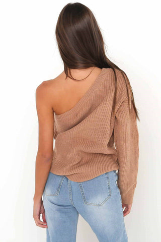 Long Sleeves Pure Color One Shoulder Regular Sweater