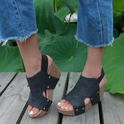 Buckle Platform Wedge Patchwork Sandals