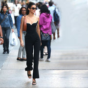 Black Sleeveless Wide Leg Spaghetti Strap Jumpsuits