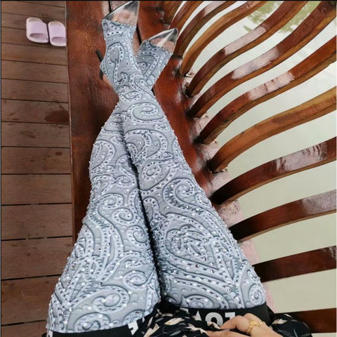 High Heel Rhinestone Transparent Toe Printed Thigh High Boots