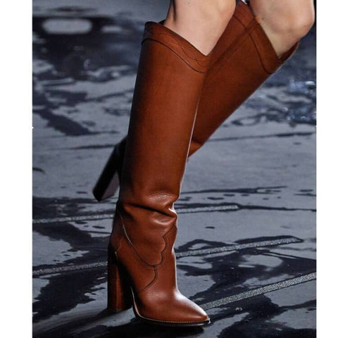 Fashion Leather High Heel Point Toe Knight Boots