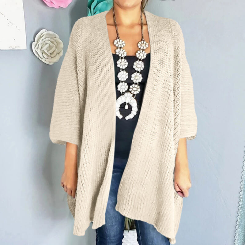 3/6 Sleeve Pure Color Knit Cardigan Sweater
