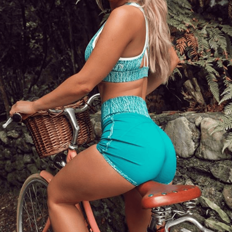 Sexy Blue Tank Top High Waist Bodycon Two Pieces Set