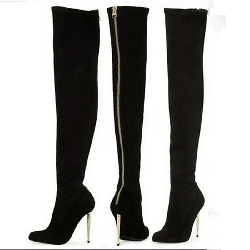 Sexy Black Suede High Heel Over Knee Zipper Boots