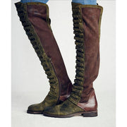 Patchwork Loose Boot Round Toe Flat Over the Knee Boots