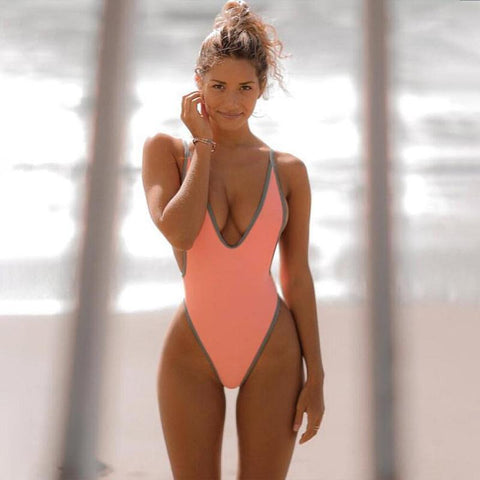 Sling V Neck Backless Tight One Pieces Bikini