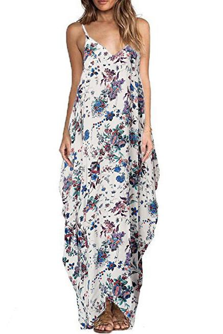 Fashion Floral Print Sleeveless Spaghetti Straps Loose Long Dress
