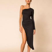 One Sleeve Slits Midi Dress
