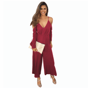 Cold Shoulder Wide Loose Jumpsuits