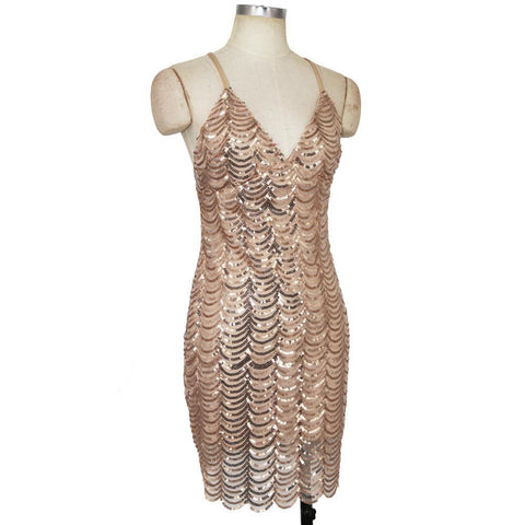 Shinning Sequins Backless Spaghetti Straps Short Dress