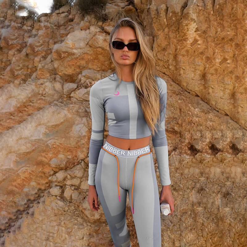 Sexy Color Block Long Sleeve High Waist Bodycon Skinny Two Pieces Set