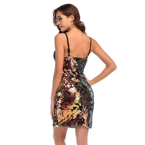 Shinning Colorful Spaghetti Straps Short Bodycon Party Dress