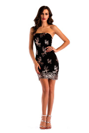 Sequins Strapless Backless Cross Straps Little Black Dress