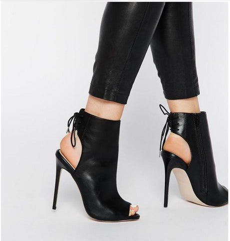 Zipper Cut Out PU Stiletto High Heels Peep-toe Ankle Boot Sandals