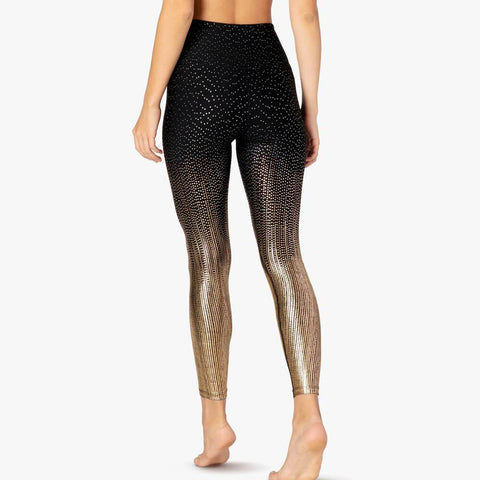 High Waist Glitter Golden-plating Skinny Yoga Pants