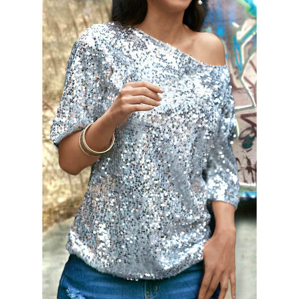 Sequins One Shoulder Half Sleeves Loose Blouse