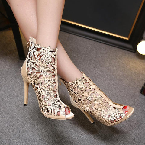 Hollow Back Zipper Stiletto Heel Peep-toe High Heel Ankle Boot Sandals