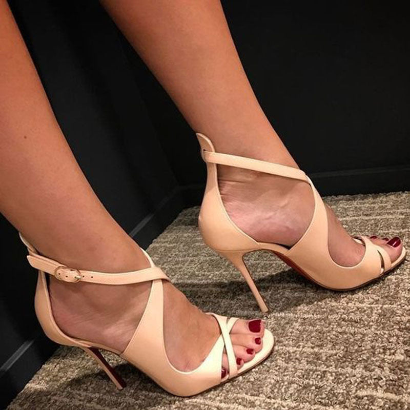 Party Beige Leather Buckle Open Toe High Heel Sandals