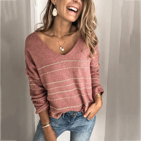 Oversized V Neck Stripes Knit Sweater