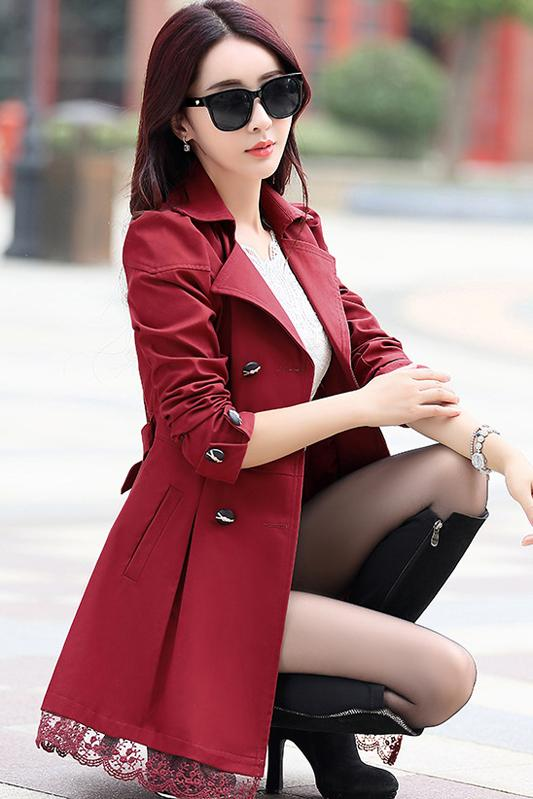 Lace Hem Patchwork Back Bowknot Lapel Double Breasted Long Coat