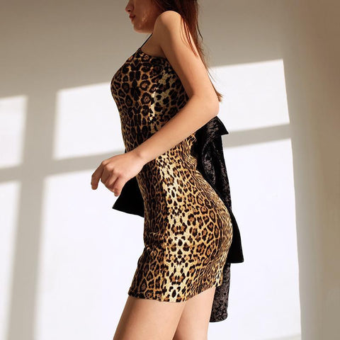 Slim Leopard Sleeveless Spaghetti Straps Short Dress