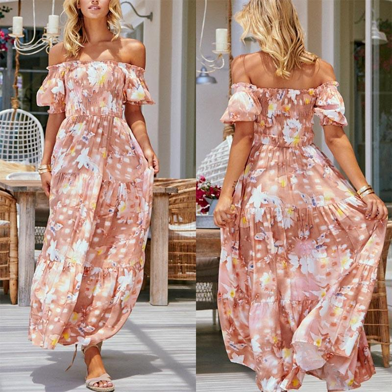 Boho Off Shoulder Printed Loose Beach Dress