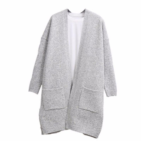 Fashion Long Cardigan Splicing Solid Color Sweaterï¼_xtra large codeï¼