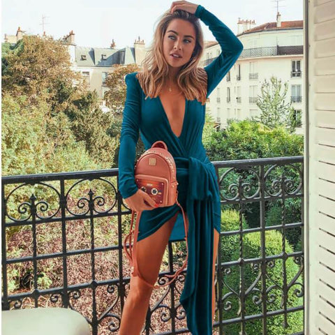 Velvet V-Neck Low High Wrap Dress