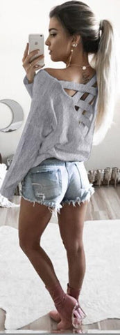 Fashion Back Criss Cross Long Sleeve Pure Color Blouse