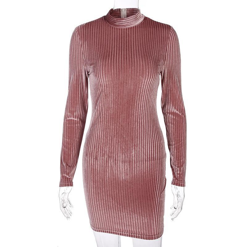 Pink Long Sleeves High Neck Pure Color Scoop Short Dress