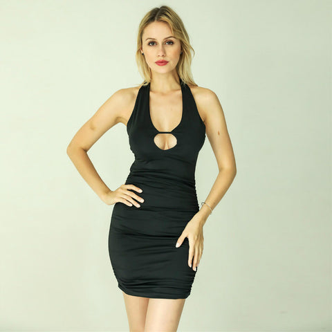 Cut Out Halter Bodycon Dress