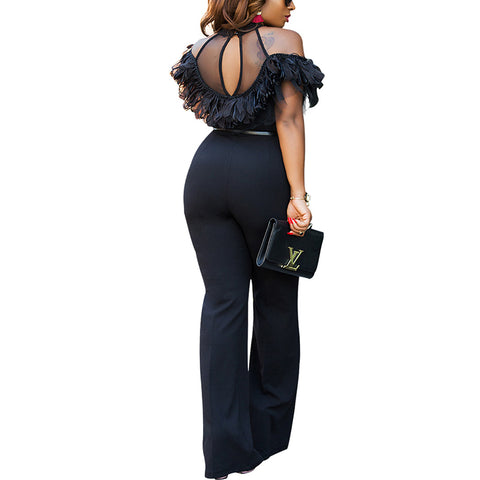 Cold Shoulder Wide Leg Ruffled Empire Jumpsuit