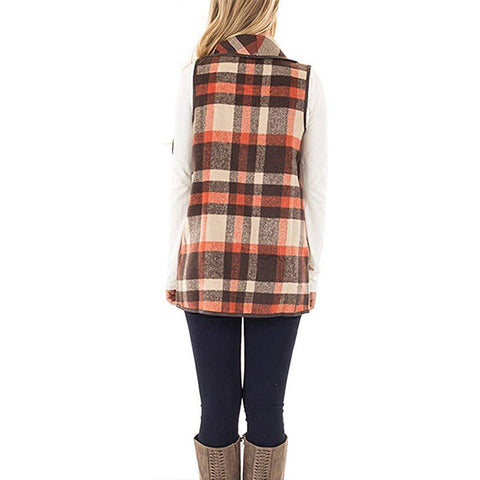 Casual Plaid Open Front Gilet
