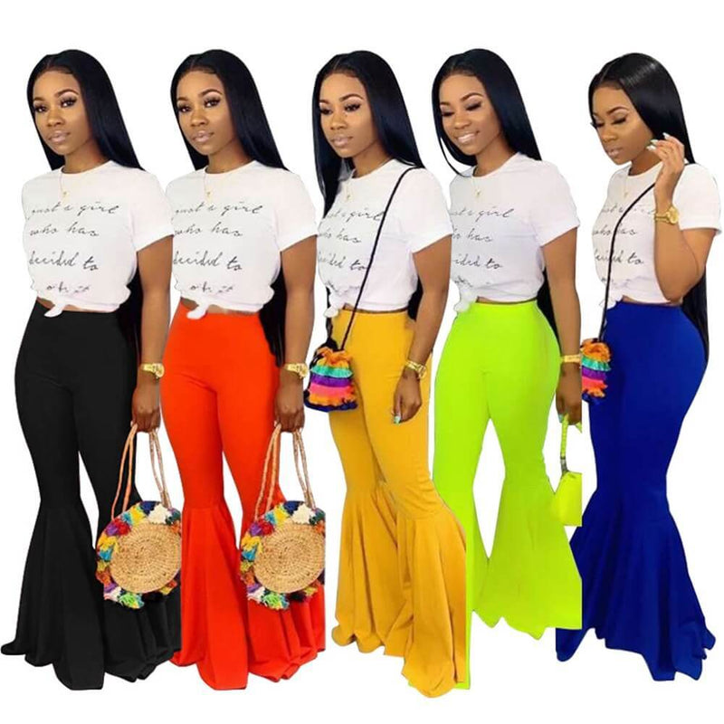 Sexy Flare High Waist Bodycon Bright Color Pants