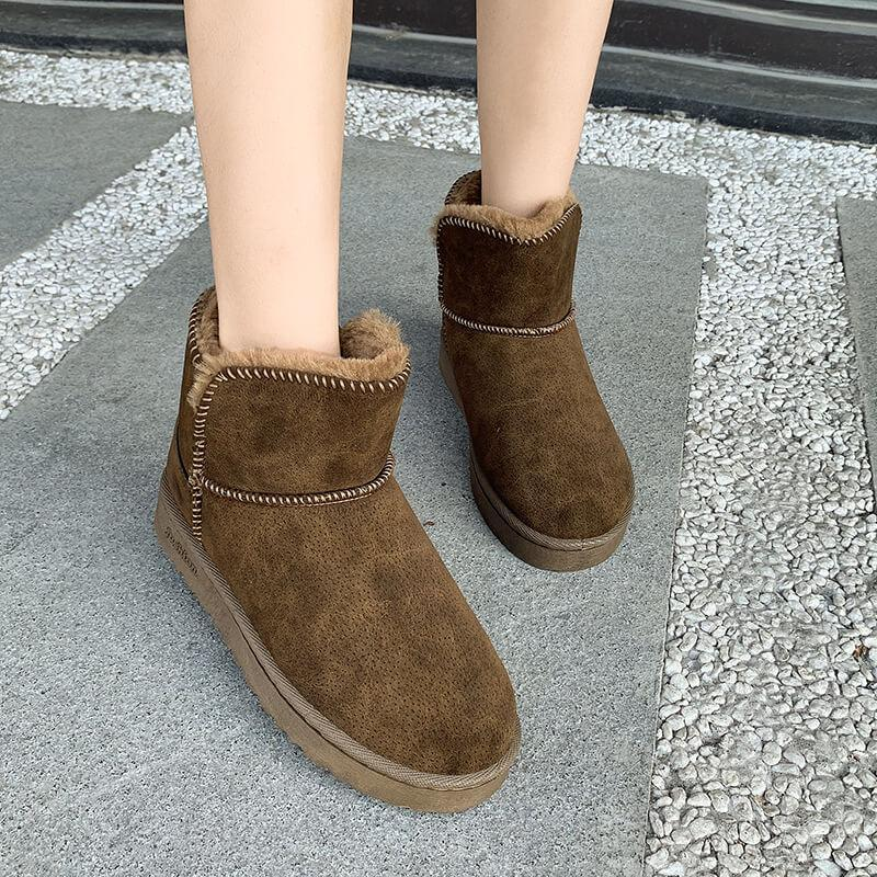 Snow Fur Round Toe Ankle Boots