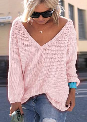 V-neck Loose Knit Pure Color Pullover Sweater - Oh Yours Fashion - 2
