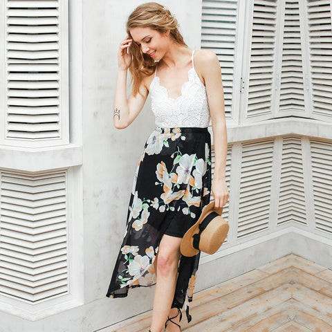 Backless Irregular Flower Print Spaghetti Straps Split Chiffon Dress