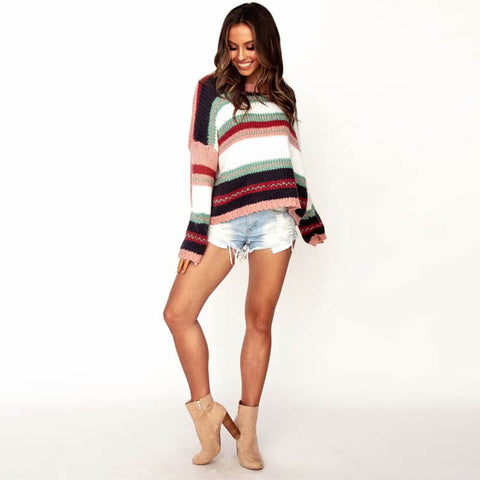 Striped Knit Plus Size Pullover Sweater
