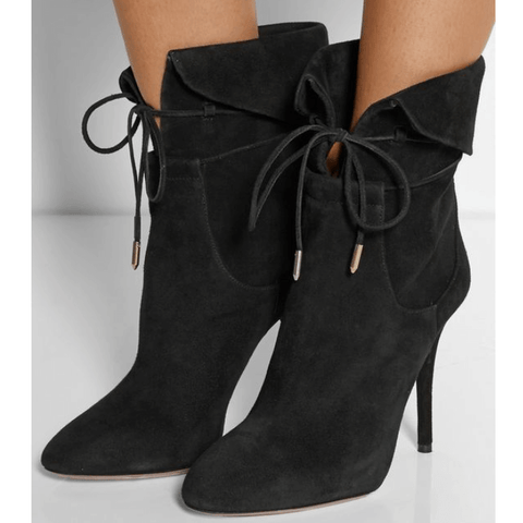 Lace Up High Heel Suede Pointed Toe Calf Boots