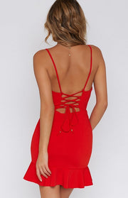 Backless Falbala Slim Deep V-neck Spaghetti Straps Short Dress