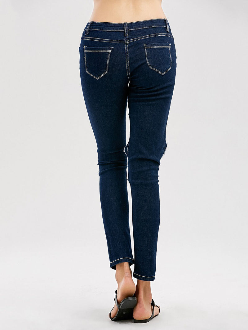 Pure Color Brushed Scratch Holes Slim Long Pants Jeans