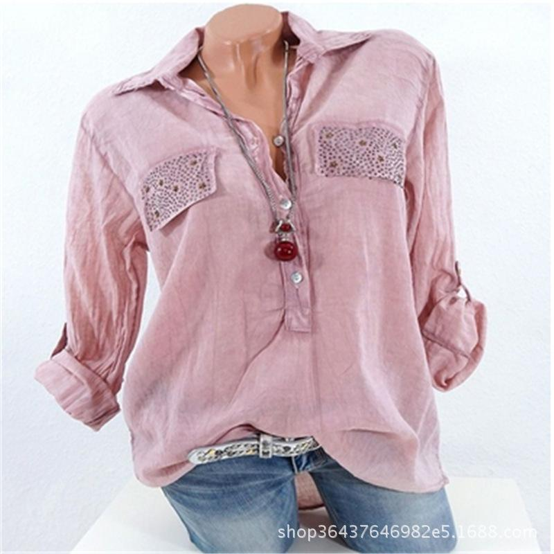 V-neck Lapel Collar Long Sleeves Regular Blouse with Plus Size