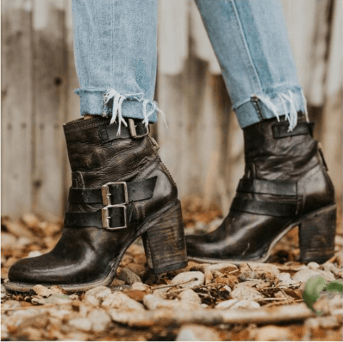 Leather Buckle High Heel Ankle Boots