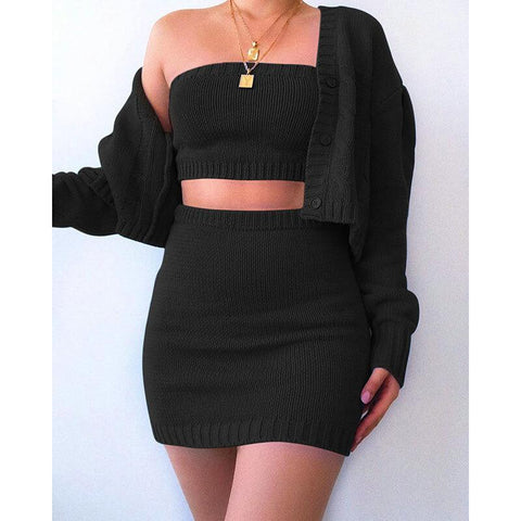 Knit Strapless Crop Top High Waist Short Skirt Set