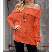 Off-Shoulder Fuzzy Pure Color Sweater
