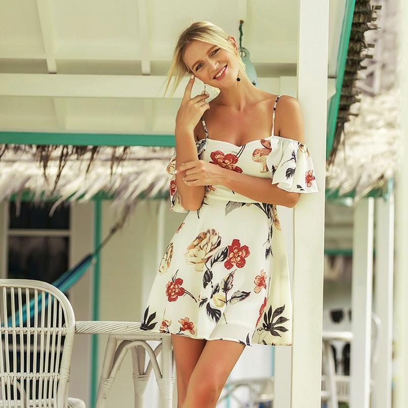 Flower Print Short Sleeves Spaghetti Straps Short Dress