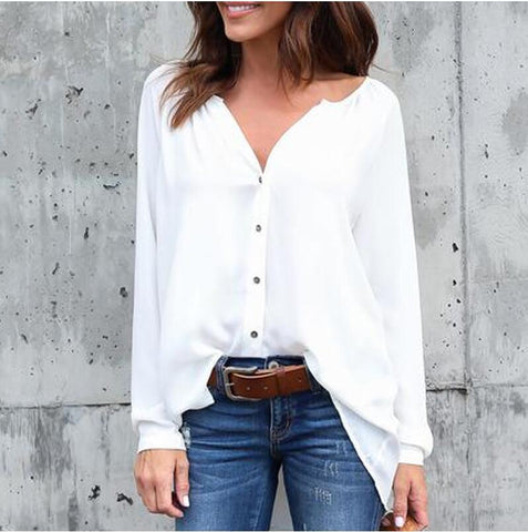 V-neck Loose Pure Color Long Sleeves Regular Blouse